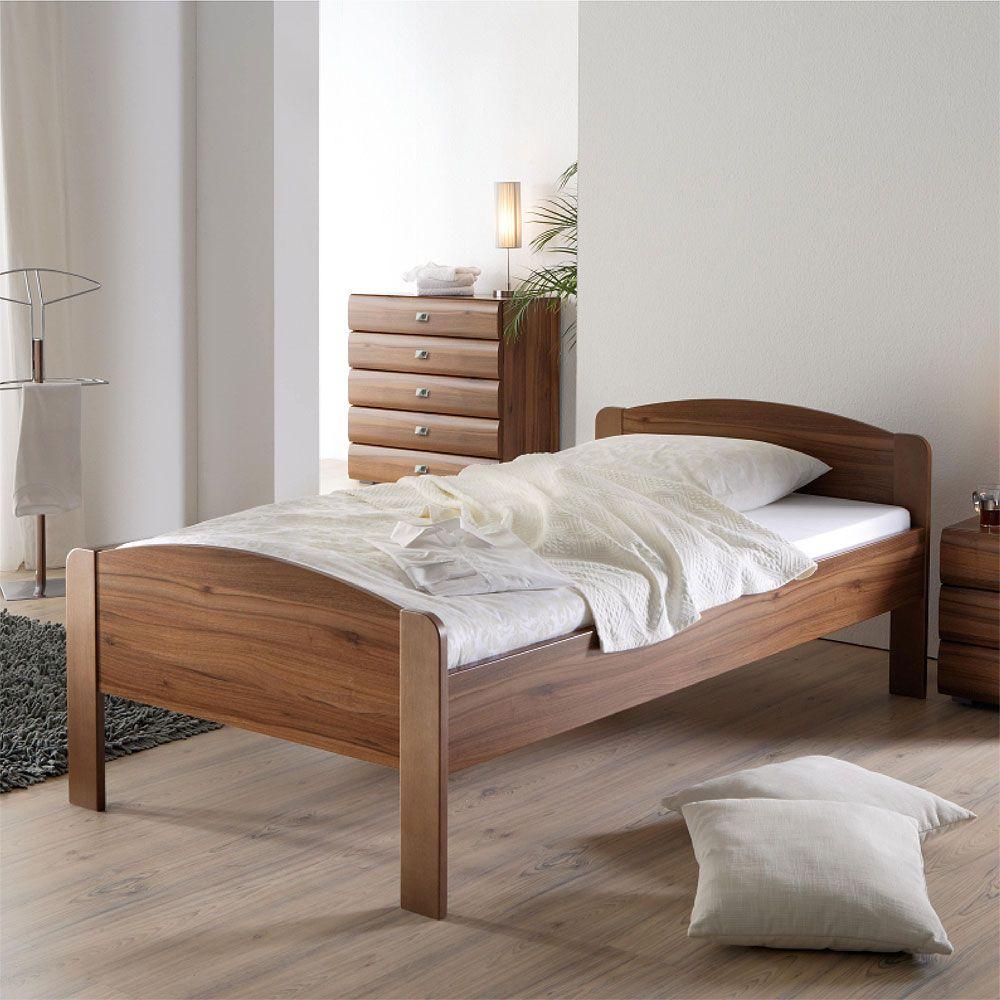 Einzelbett in Walnussfarben Liegefläche 100x200 cm