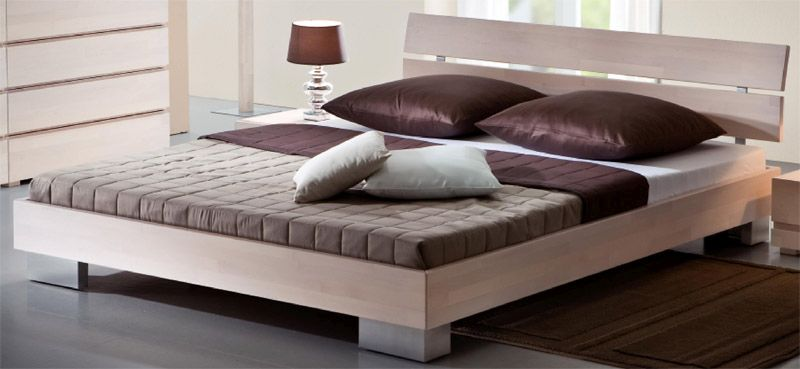 Doppelbett aus Buche Massivholz | Schlafzimmer > Betten > Doppelbetten | TopDesign