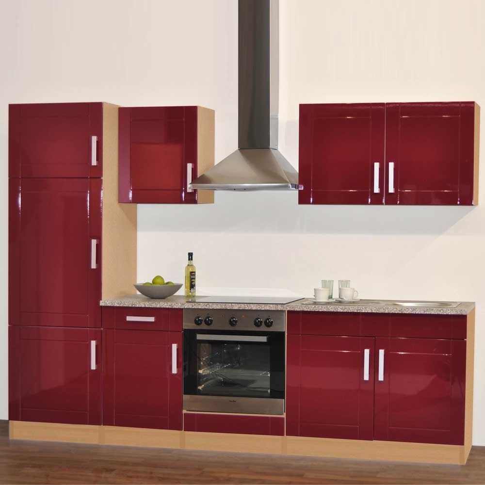 Küchenblock in Hochglanz Rot (6-teilig)