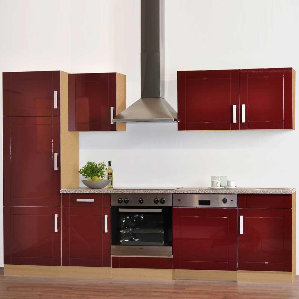 Kücheneinrichtung in Hochglanz Rot (7-teilig)