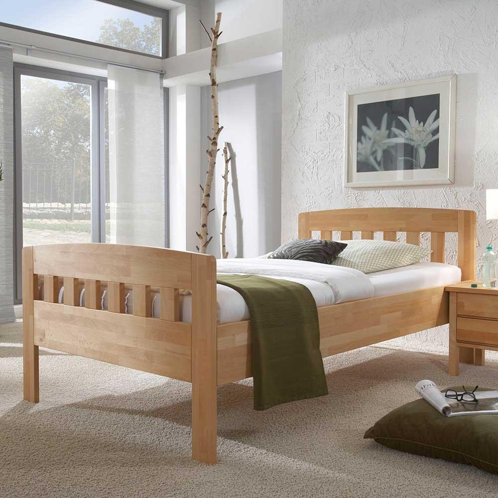 Einzelbett aus Kernbuche Massivholz mit Komforthöhe | Schlafzimmer > Betten > Funktionsbetten | BestLivingHome