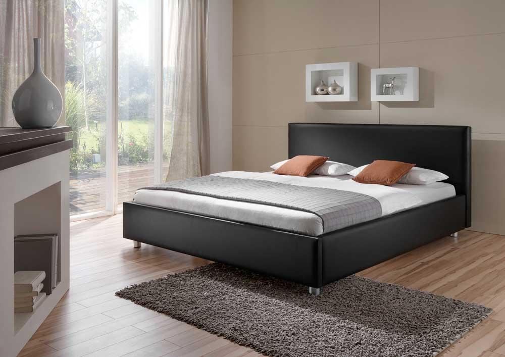 Futonbett aus Kunstleder (100% Polyurethan) Schwarz   Schlafzimmer > Betten > Futonbetten   Schwarz   Kunstleder - Metall   BestLivingHome