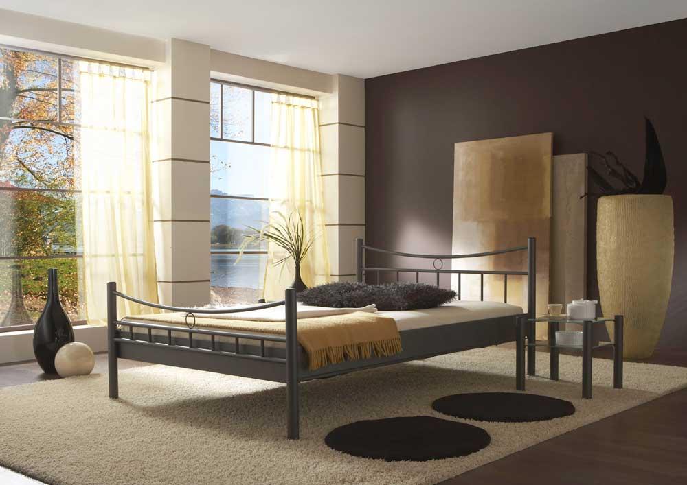 Futonbett in Schwarz Metall   Schlafzimmer > Betten > Futonbetten   Schwarz   Metall   BestLivingHome