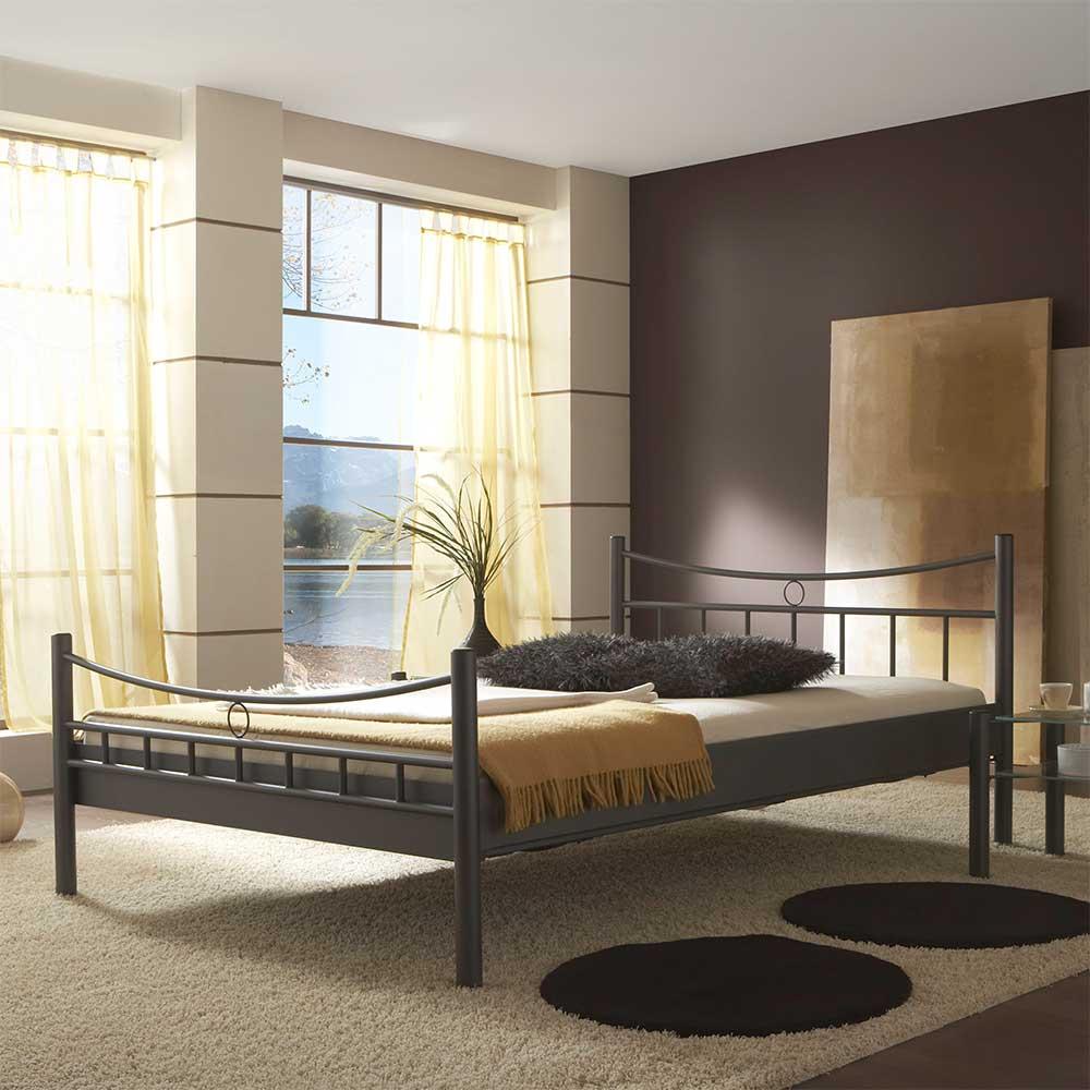 Futonbett mit 4-Fuß Gestell Grau | Schlafzimmer > Betten > Futonbetten | Grau | Metall | BestLivingHome