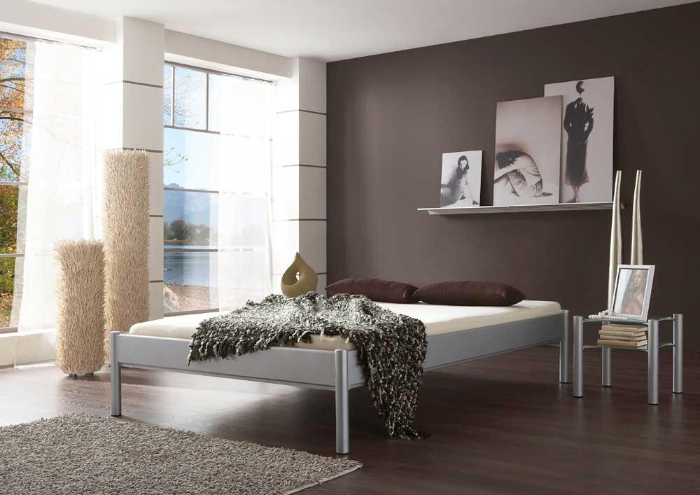Metallbett ohne Silber Kopfteil | Schlafzimmer > Betten > Metallbetten | Grau | Metall | BestLivingHome