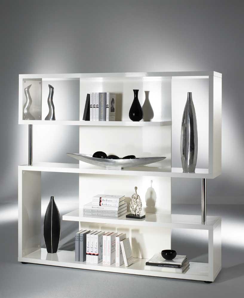 Raumteiler in Hochglanz Weiß mit Fächern | Wohnzimmer > Regale > Raumteiler | Weiß | Holzwerkstoff | Star Möbel