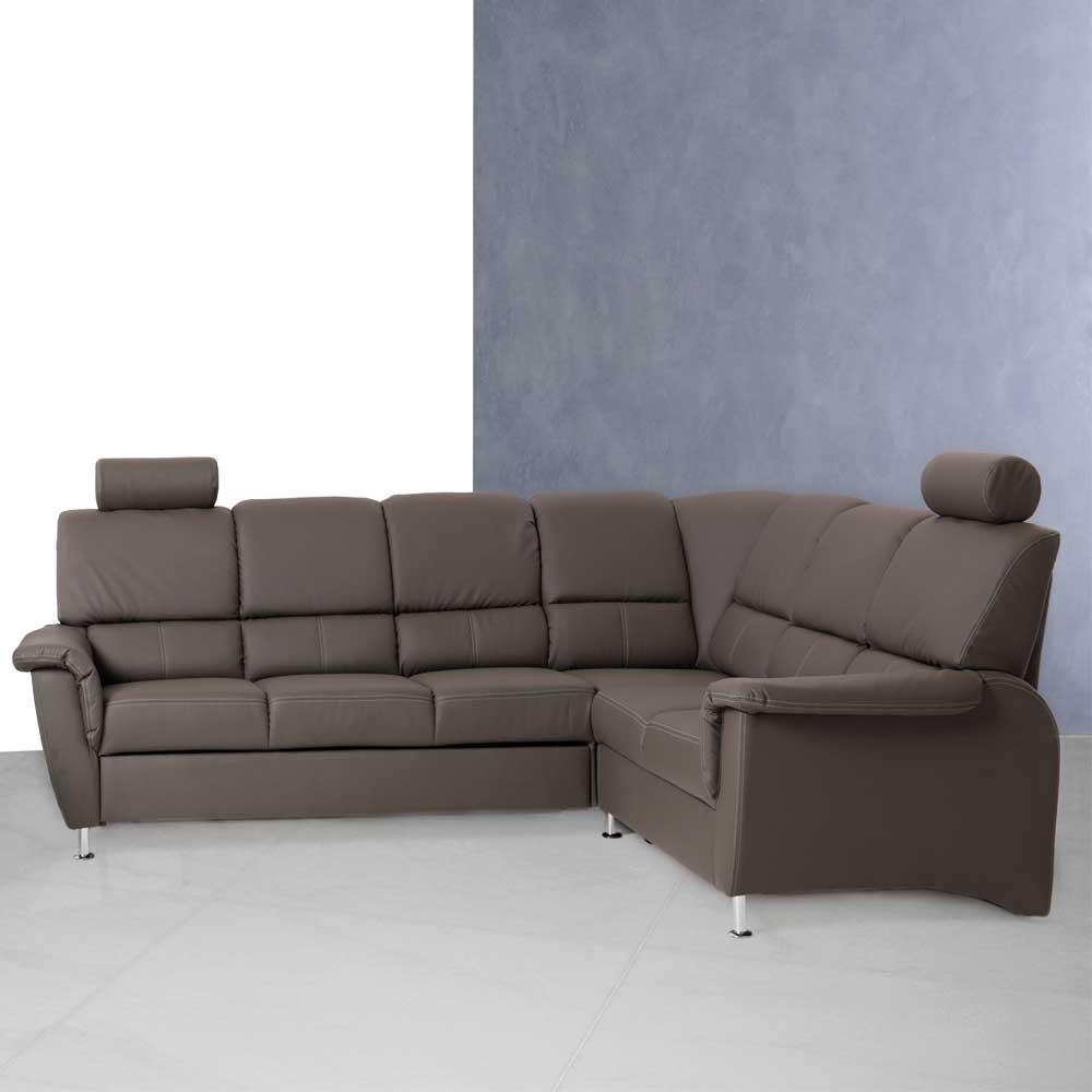 ecksofa in braun mit kopfst tze moebel suchmaschine. Black Bedroom Furniture Sets. Home Design Ideas