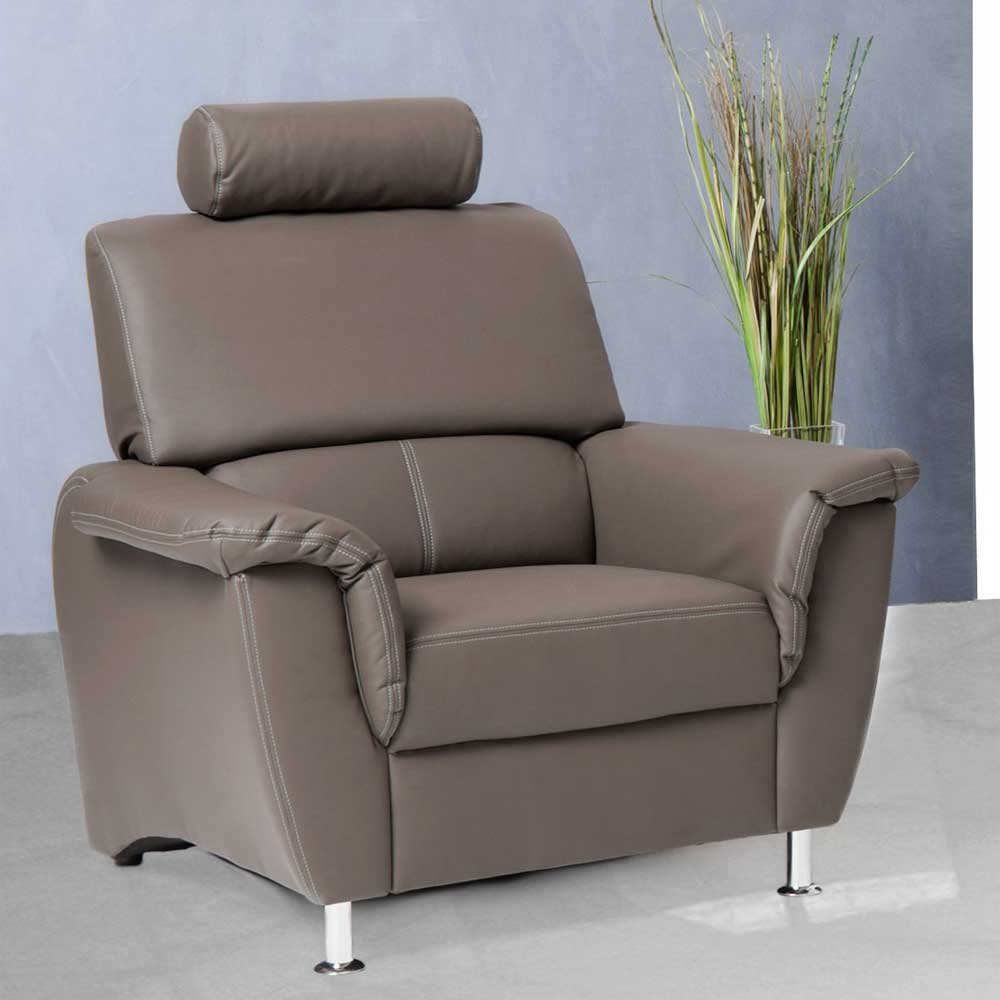 TV Sessel in Braun mit Kopfstütze