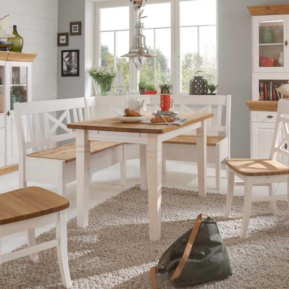 Massivholztisch im Landhausstil Weiß