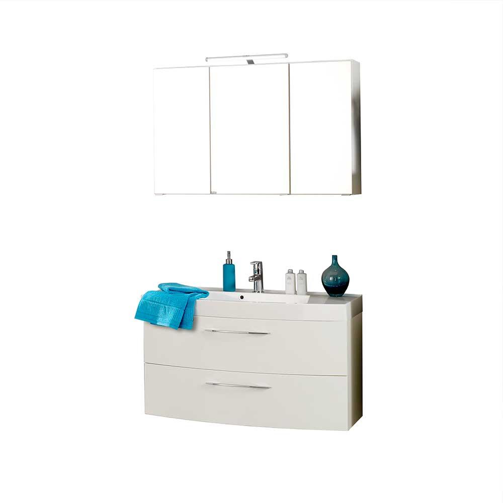 Badmöbel Set mit 3D Spiegelschrank Weiß Hochglanz (zweiteilig)