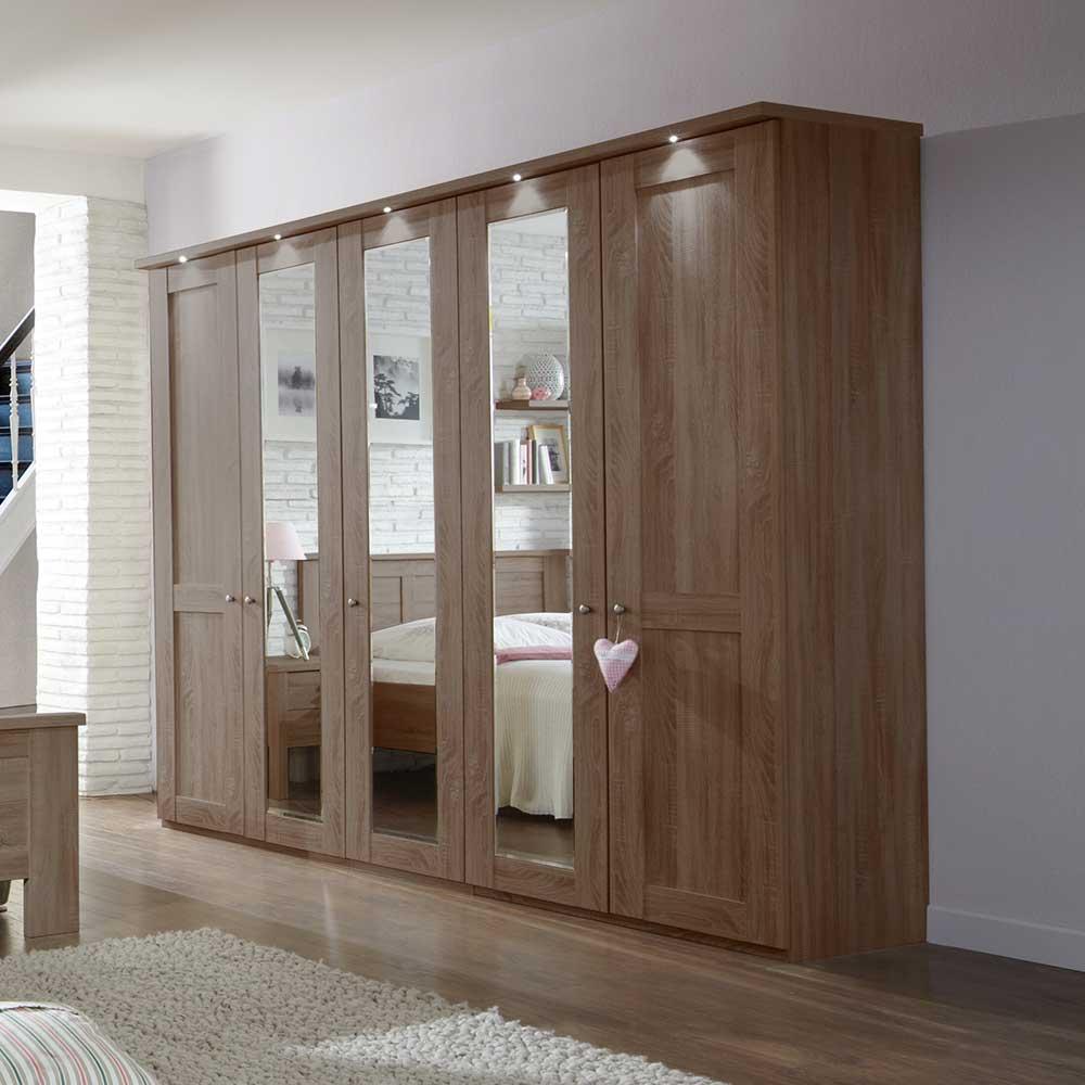 Schlafzimmerschrank mit Spiegeltüren Eiche Trüffel