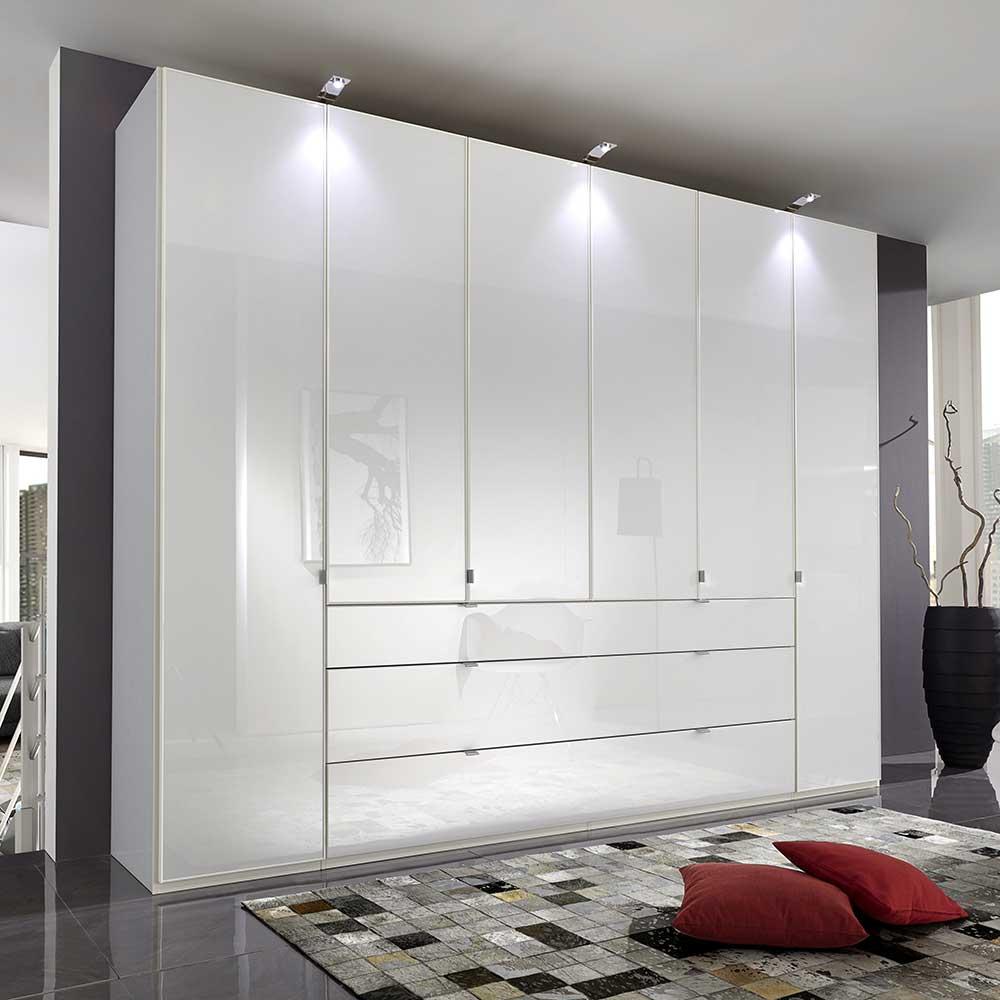 Schlafzimmer Kleiderschrank in Weiß Glas beschichtet