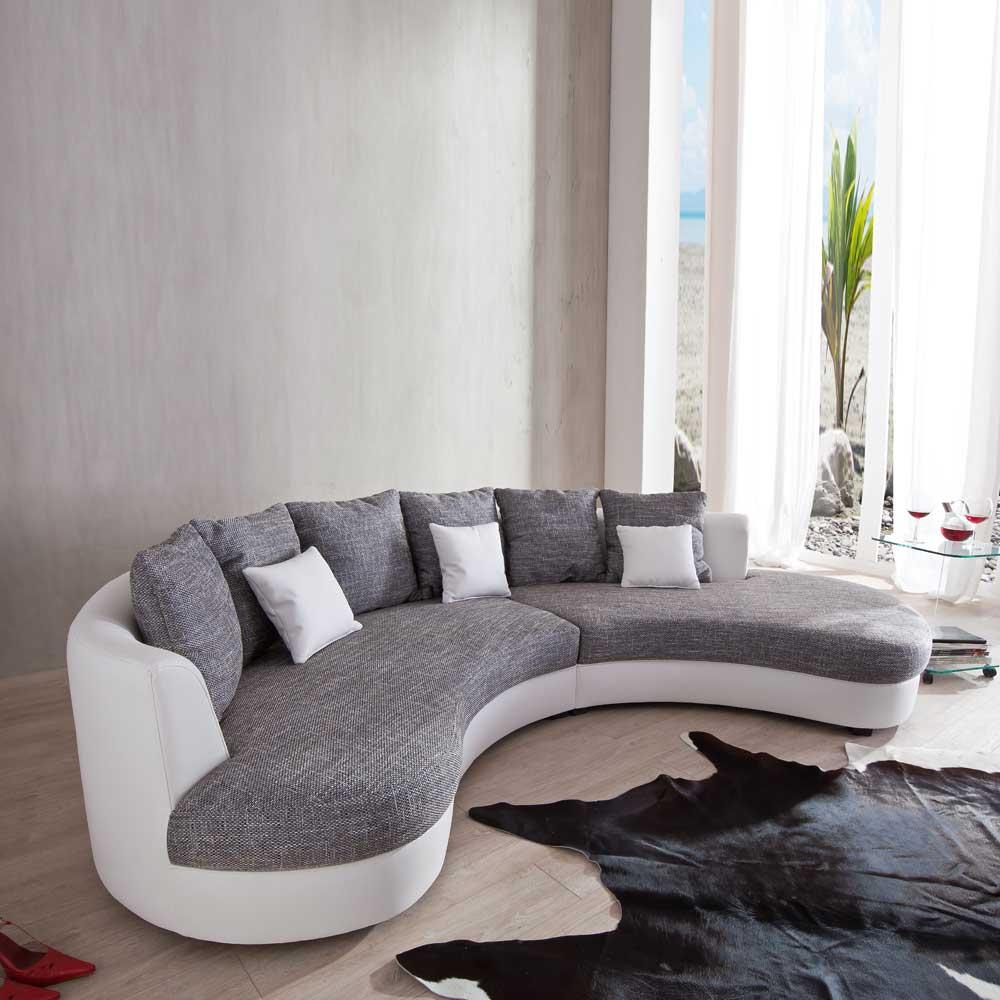 Couch in U-Form Weiß Grau