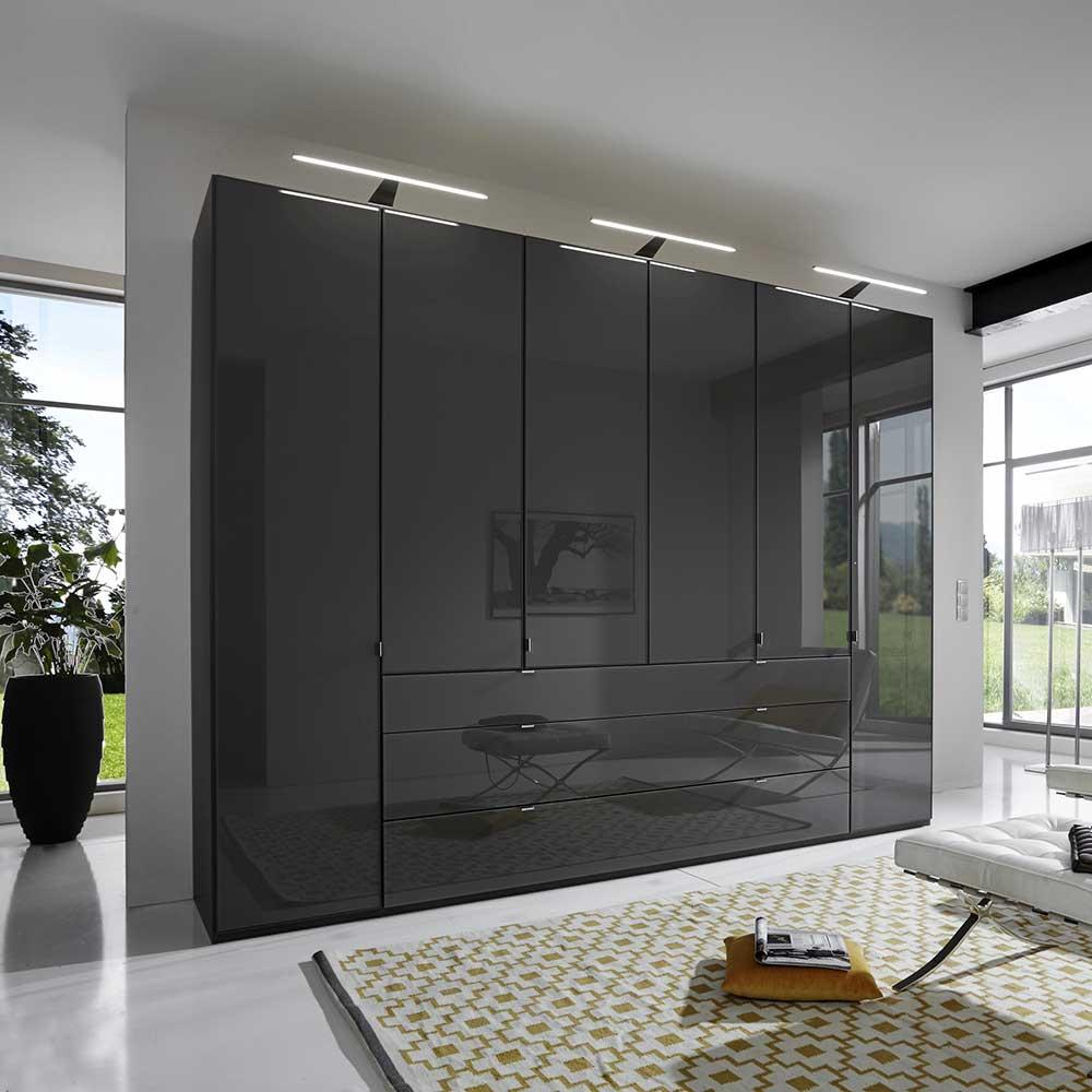 Schlafzimmerschrank in Dunkelgrau Glas beschichtet