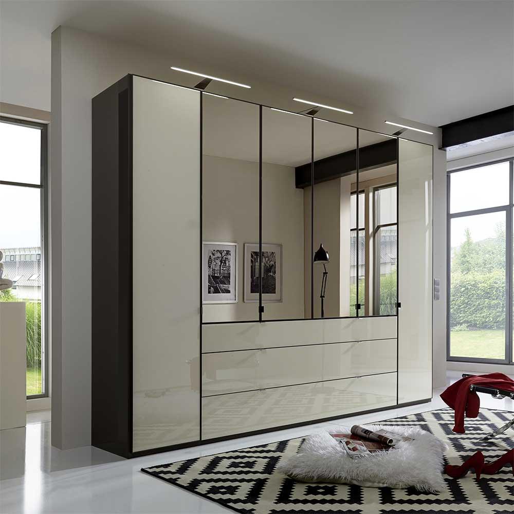 Kleiderschrank in Creme Weiß Glas beschichtet Spiegel