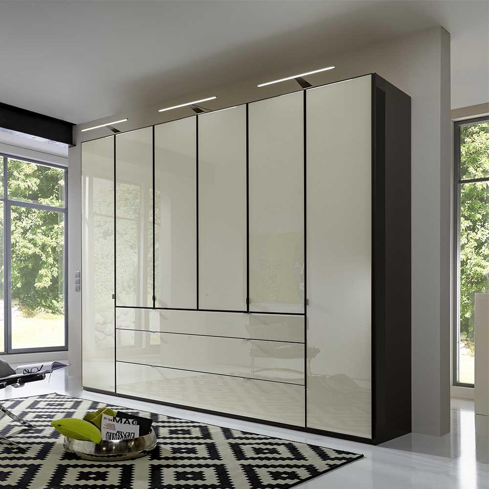 Schlafzimmer Kleiderschrank in Creme Weiß Glas beschichtet Dunkelgrau