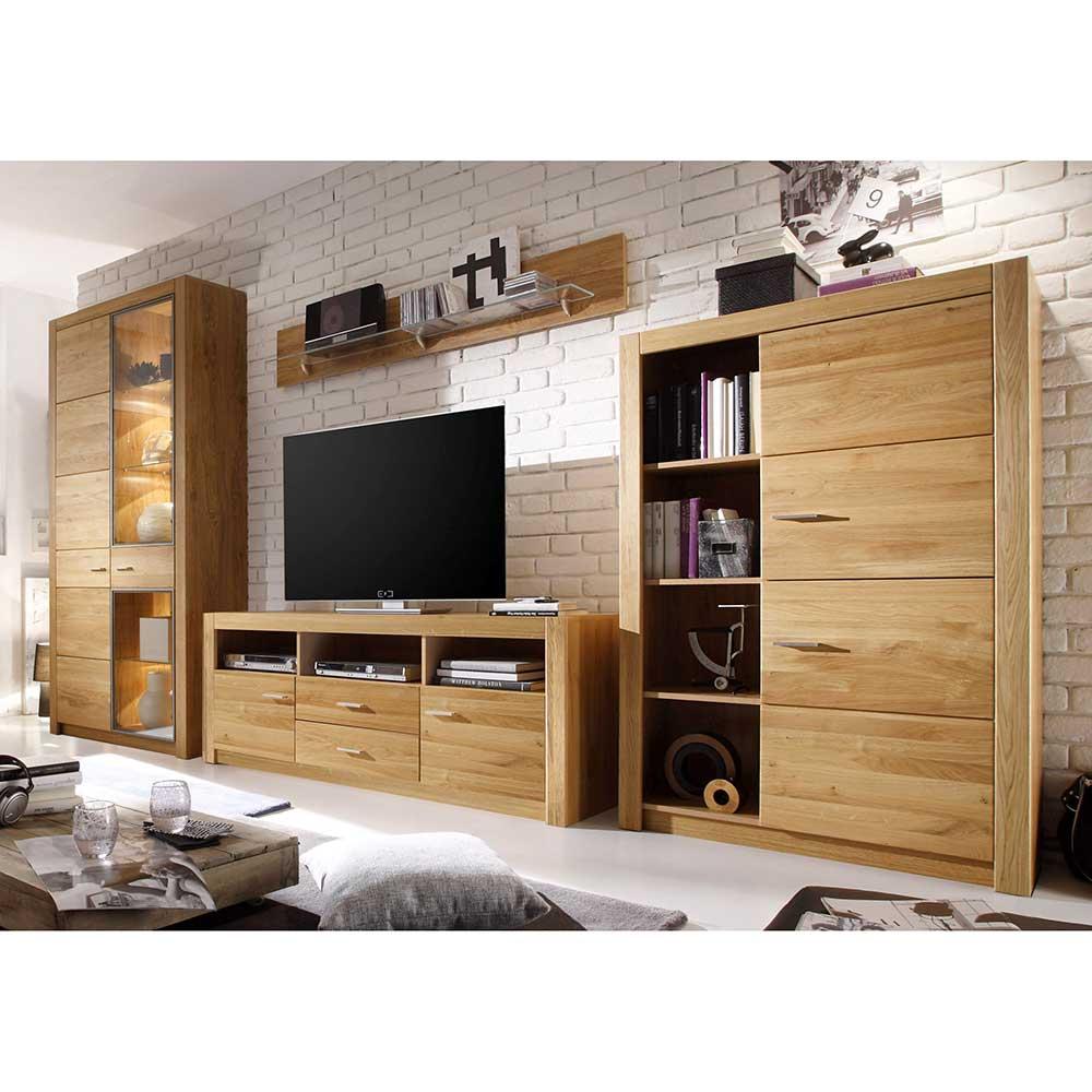 Wohnzimmer Anbauwand aus Asteiche modern (4 teilig)