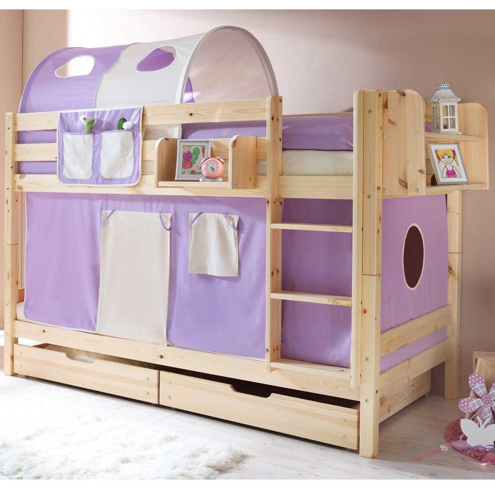 Massivholz Etagenbett in Kieferfarben mit Tunnel und Vorhang | Kinderzimmer > Kinderbetten > Etagenbetten | Kiefer - Massivholz - Holz | Massivio