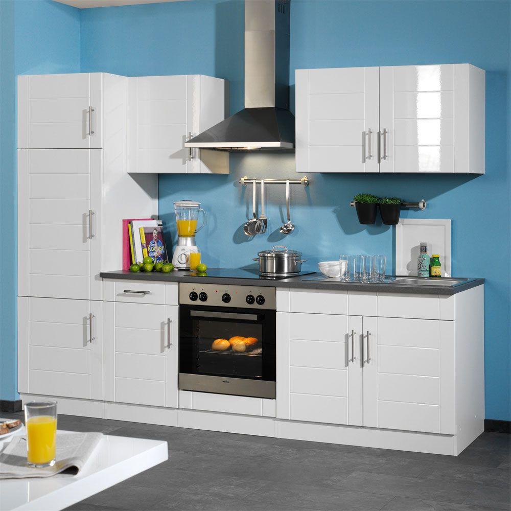 Küchenmöbel Set in Hochglanz-Weiß 270cm breit (6-teilig)
