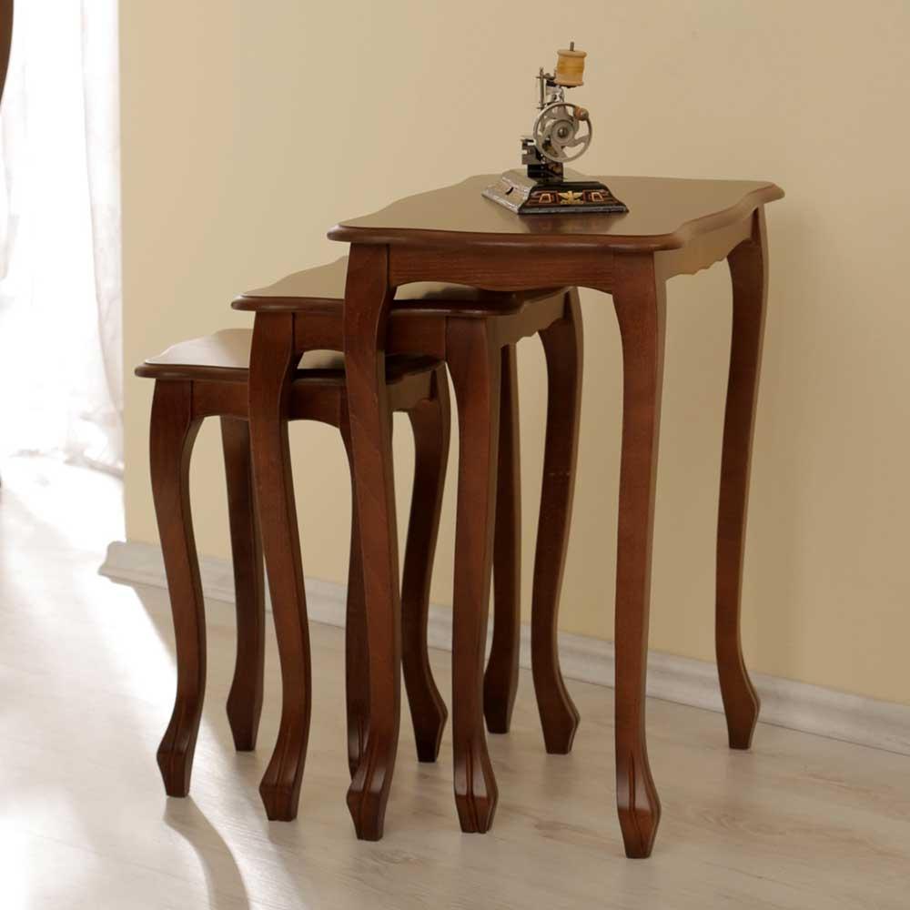 Dreisatztisch in Nussbaumfarben (3-teilig) | Wohnzimmer > Tische > Satztische & Sets | Braun | Spanplatte - Massivholz - Gebeizt - Lackiert | Elegance InLiving