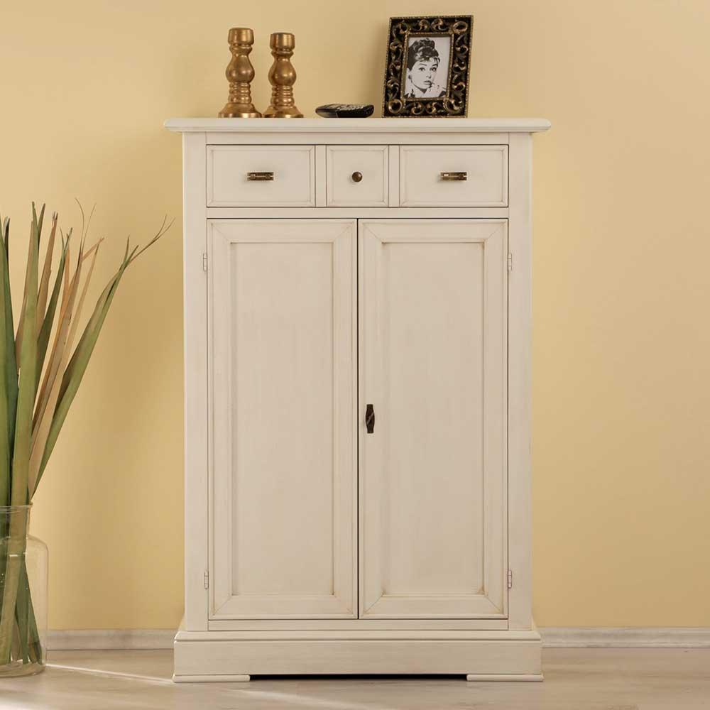 Flur Hochkommode in Weiß | Flur & Diele > Regale für Flur und Diele > Standregale für Flur und Diele | Weiß | Massivholz | Elegance InLiving