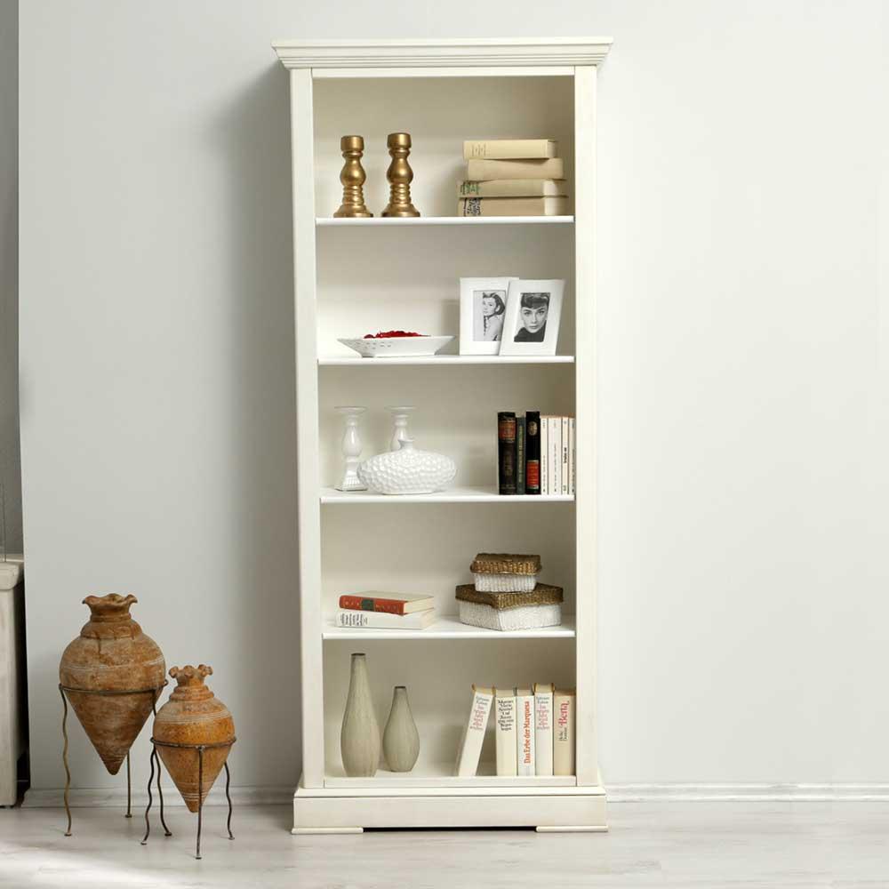 Bücher Standregal in Weiß | Wohnzimmer > Regale > Einzelregale | Weiß | Massivholz | Elegance InLiving