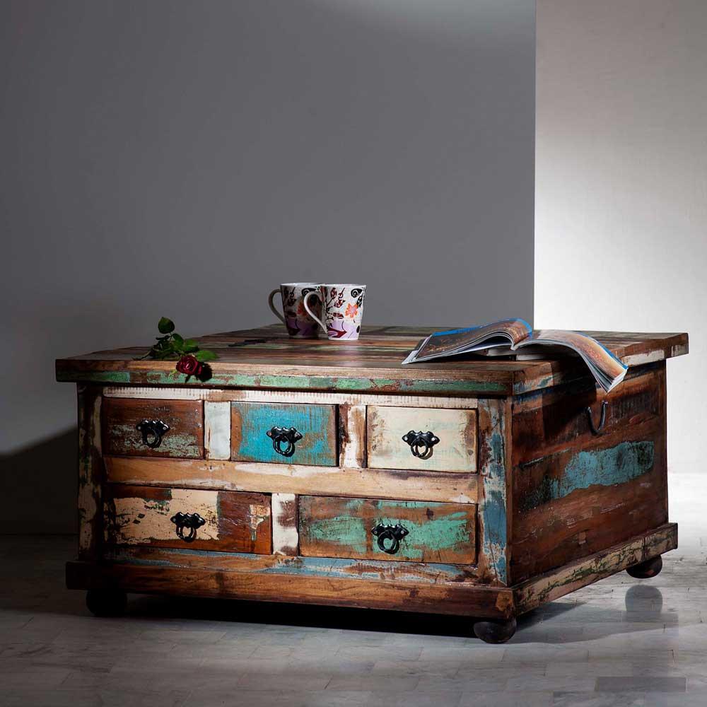 Truhentisch in Shabby Chic Vintage | Wohnzimmer > Tische > Truhentische | Braun | Massivholz | Möbel Exclusive