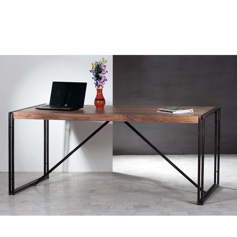 Schreibtisch in Schwarz-Sheeshamfarben Used Look