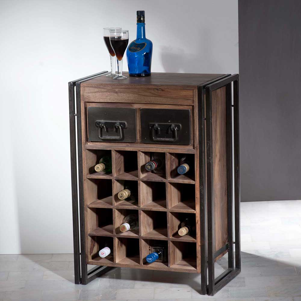 Küchenregal mit Flaschenfächern Used Look | Küche und Esszimmer > Küchenregale > Küchen-Standregale | Metall - Sheesham - Massivholz - Massiv - Holz - Gebeizt - Geölt | Möbel Exclusive