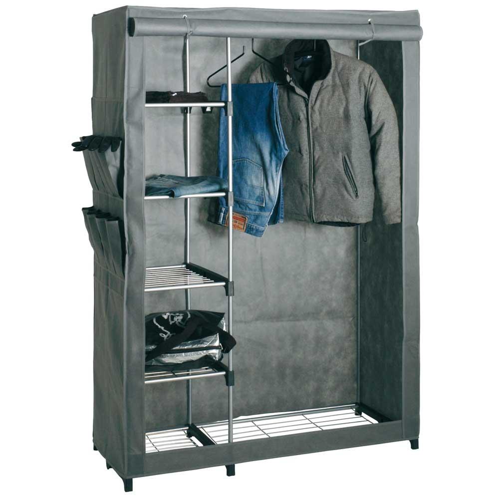 Garderobenschrank mit Stoffbezug | Flur & Diele > Garderoben > Garderobenschränke | Grau | Metall | Tollhaus