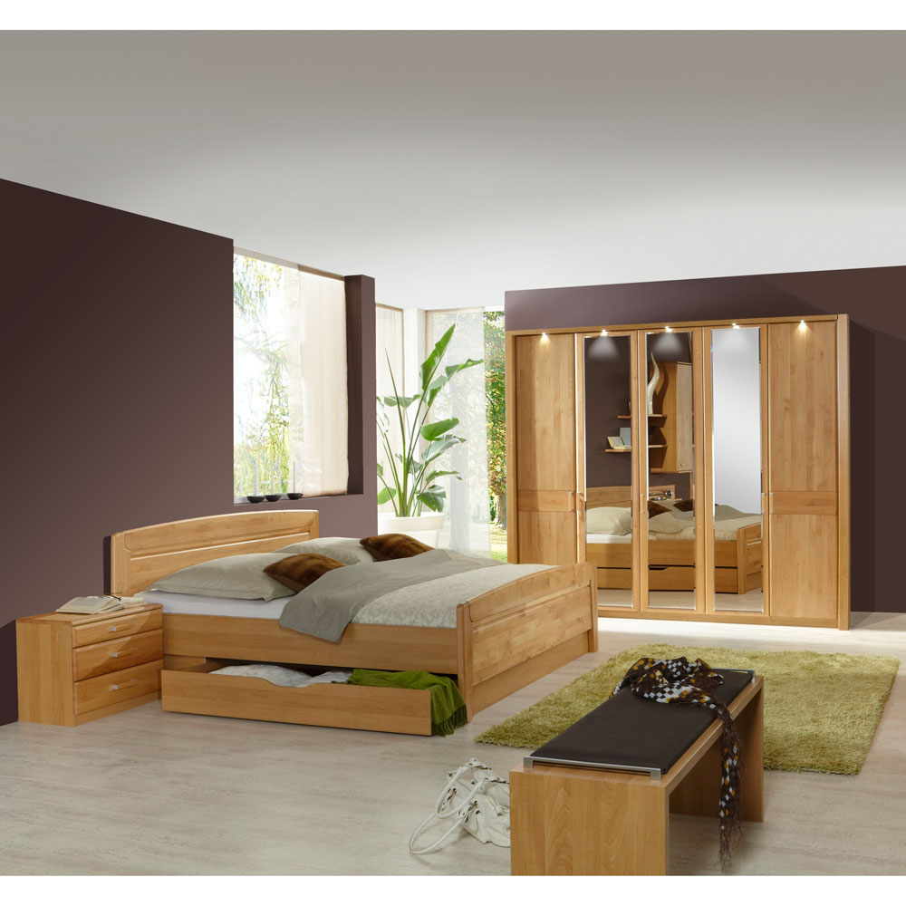 Schlafzimmermöbel Set aus Erle Teilmassiv online kaufen (4-teilig)