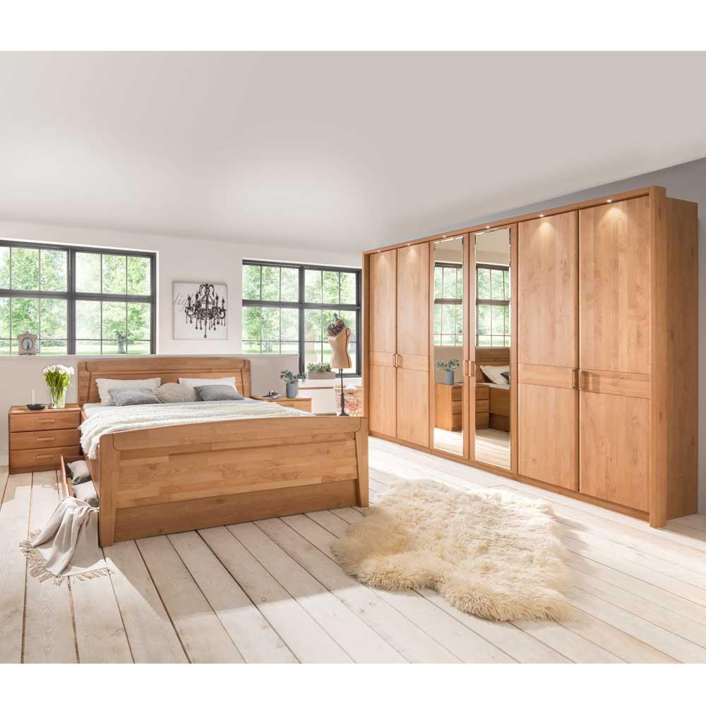 Schlafzimmermöbel Kombi aus Erle Teilmassiv Beleuchtung (6-teilig)