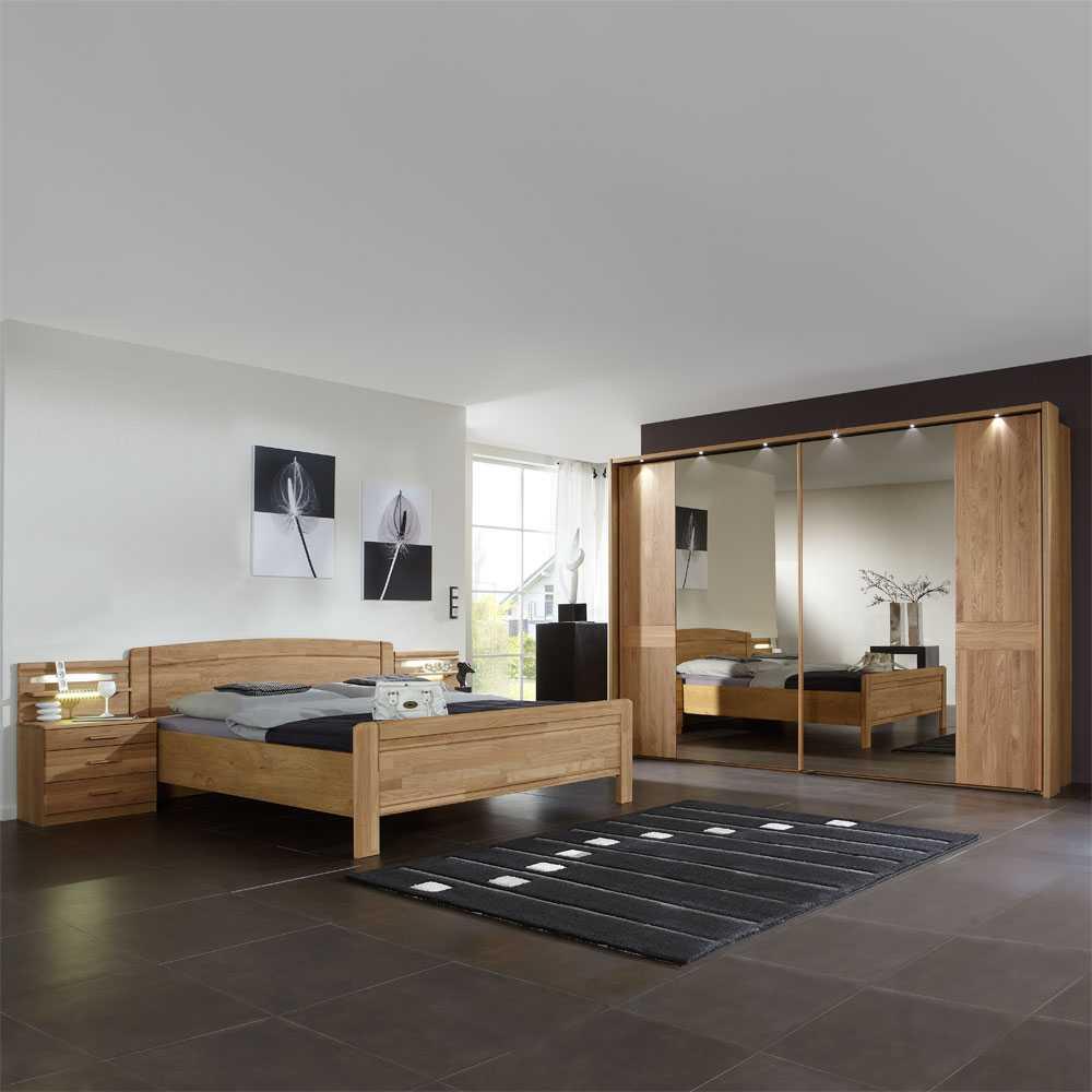 komplett Schlafzimmer aus Eiche Teilmassiv online kaufen (4-teilig)
