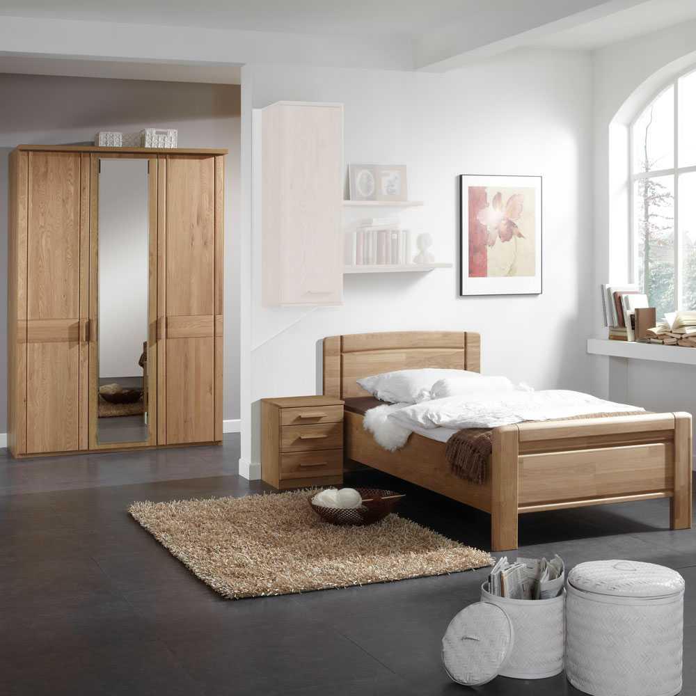 Schlafzimmermöbel Set aus Eiche Teilmassiv Teilmassiv (3-teilig)   Schlafzimmer > Komplett-Schlafzimmer   Franco Möbel