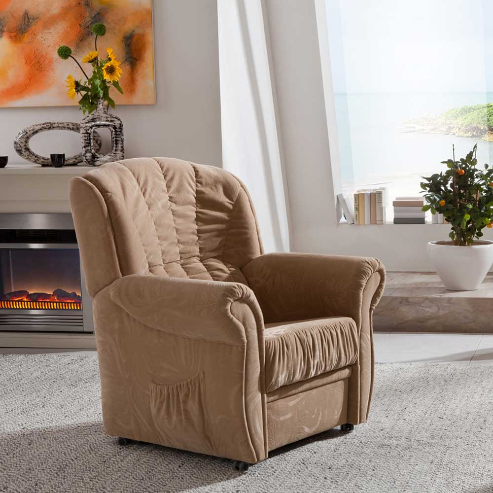 TV Sessel mit Federkern beige