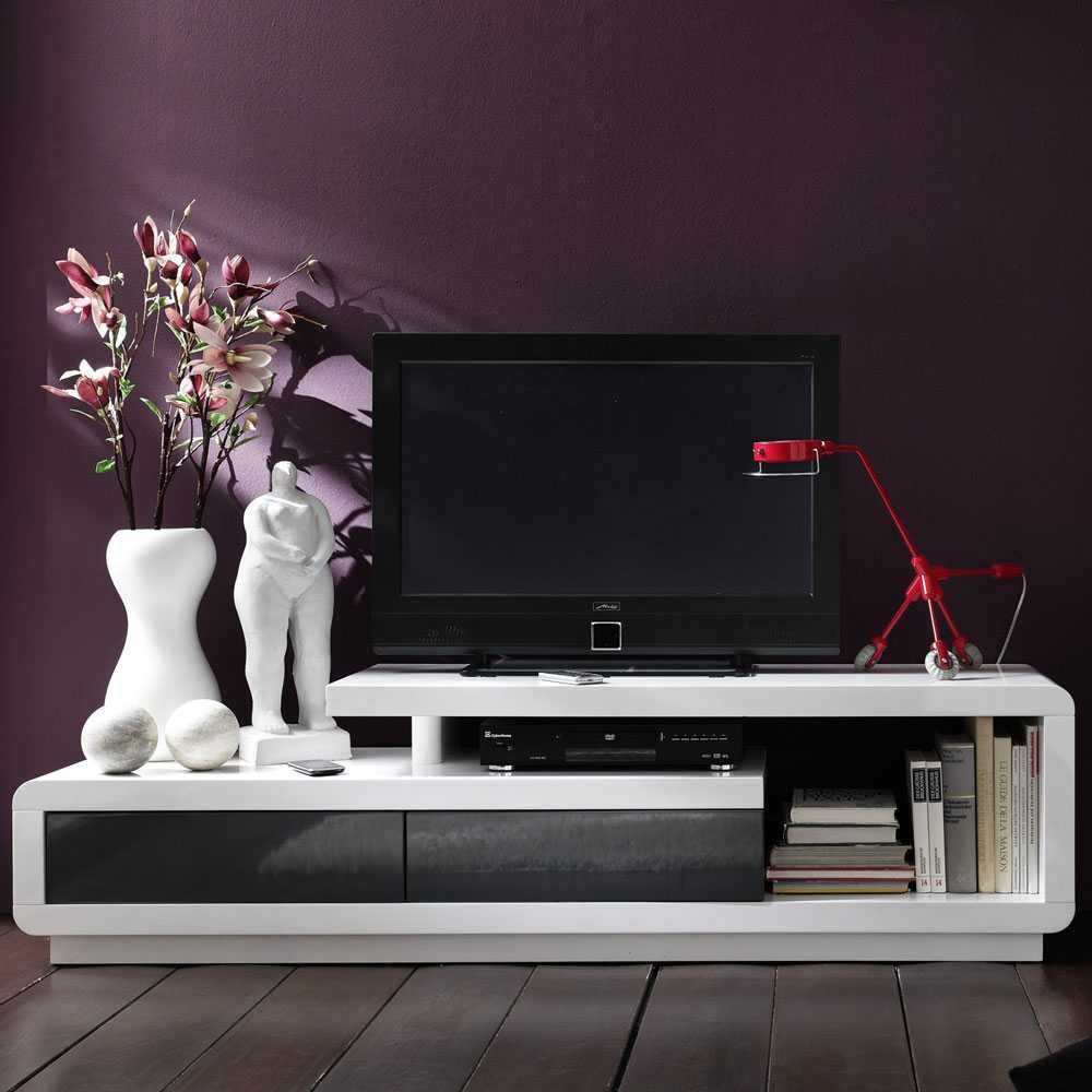 TV-Board in Weiß Hochglanz modern
