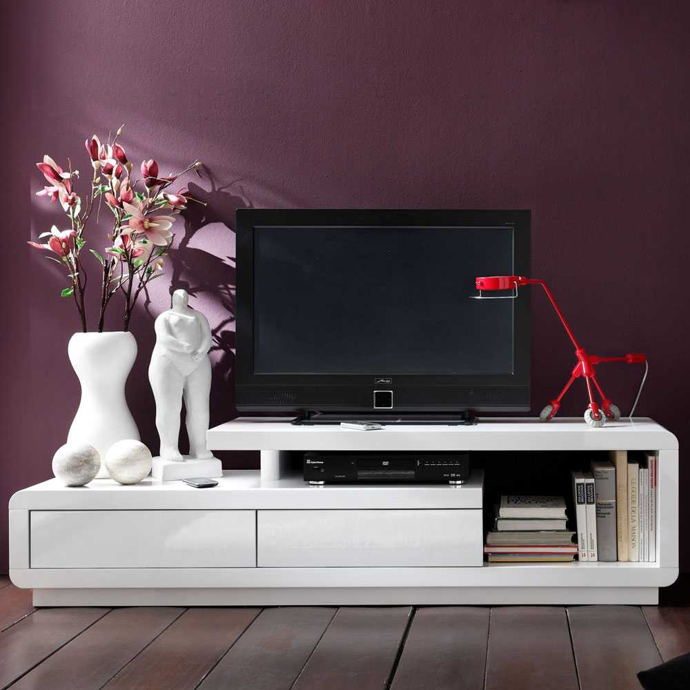 TV Board in Weiß Hochglanz modern