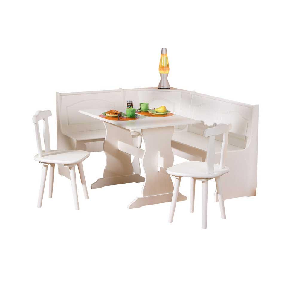 Eckbankgruppe aus Kiefer Massivholz Weiß (4-teilig) | Küche und Esszimmer > Essgruppen > Eckbankgruppen | Weiß | Kiefer - Massivholz - Lackiert | TopDesign