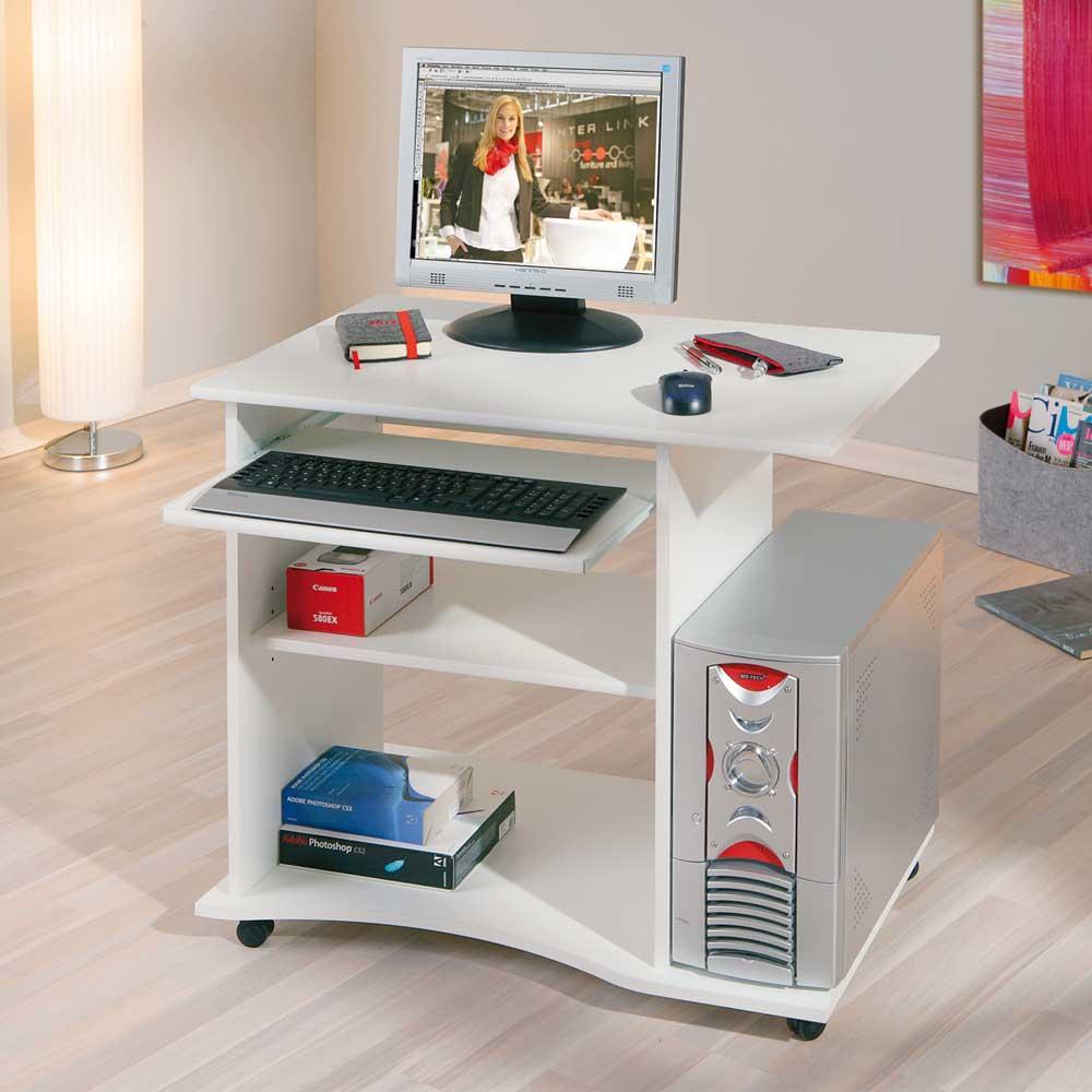 Computertisch in Weiß fahrbar | Büro > Bürotische > Computertische | Weiß | Holzwerkstoff | TopDesign