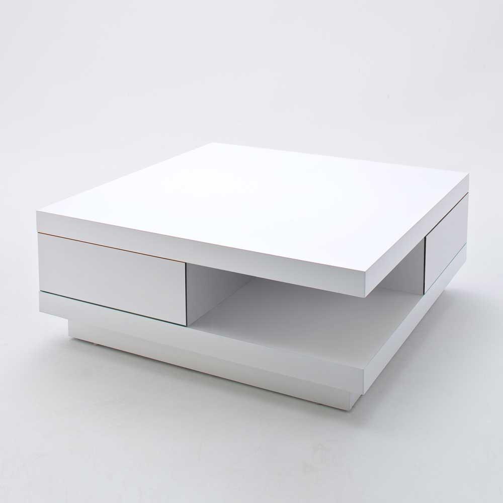 Design Couchtisch in Hochglanz Weiß 2 Schubladen