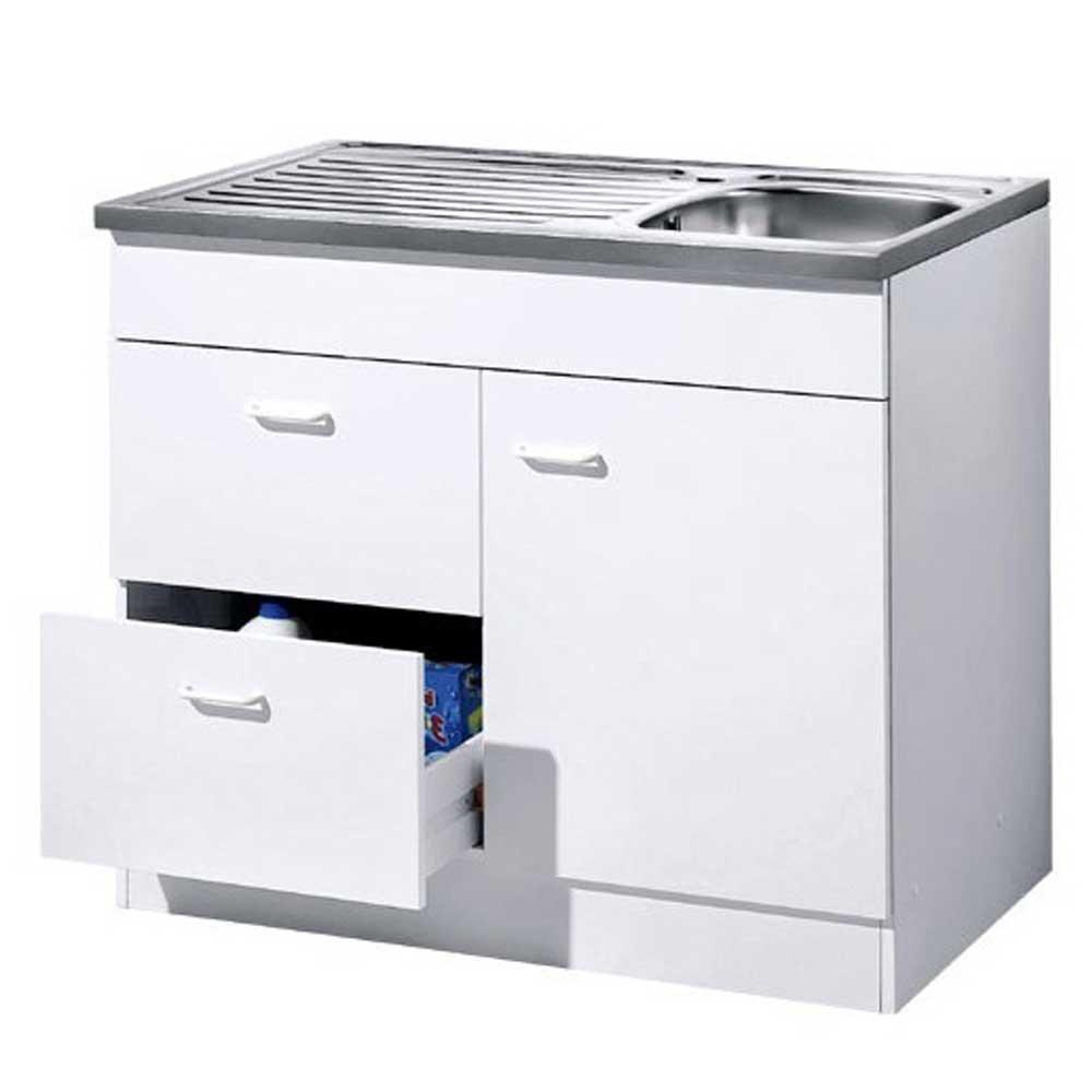 Spülenschrank in Weiß 100 cm breit | Küche und Esszimmer > Küchenschränke > Spülenschränke | Star Möbel