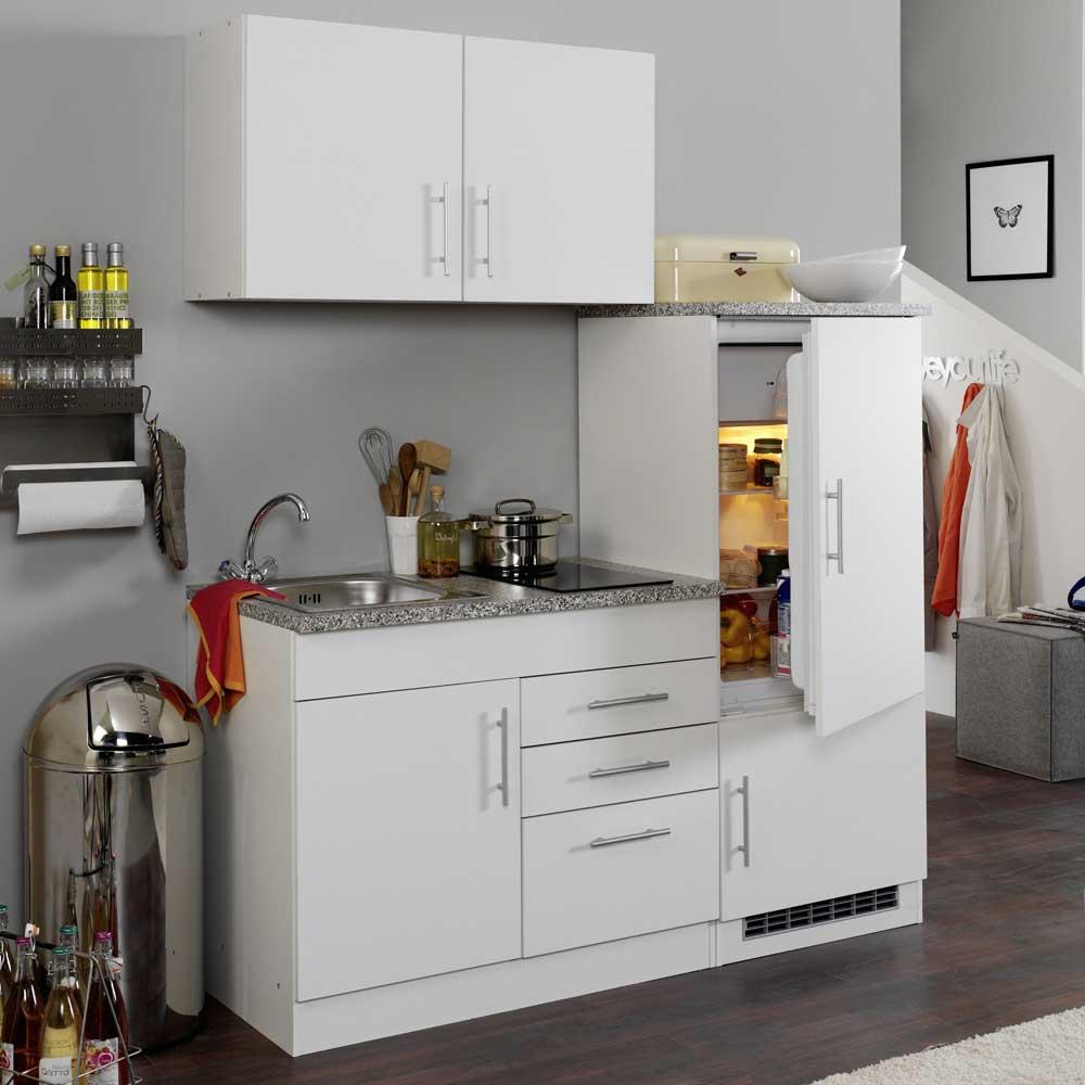 Miniküche in Weiß Kühlschrank (4-teilig)   Küche und Esszimmer > Küchen > Miniküchen   Star Möbel
