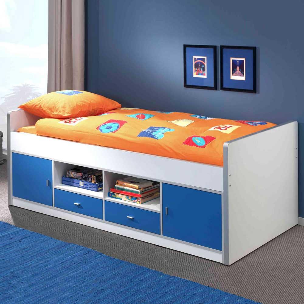 Jugendbett in Weiß-Blau Weiß