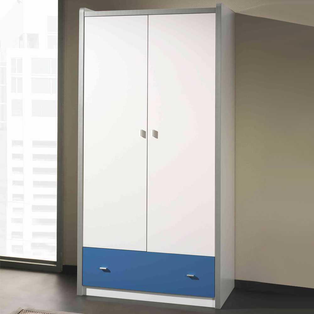 Jugendschrank in Weiß-Blau 2-türig | Kinderzimmer > Jugendzimmer > Jugendschränke | Weiß | Holzwerkstoff | 4Home