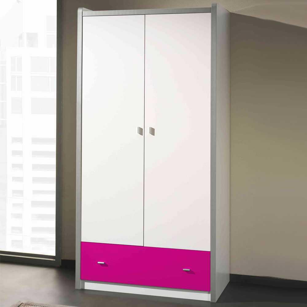 Kinderkleiderschrank in Weiß-Pink Pink