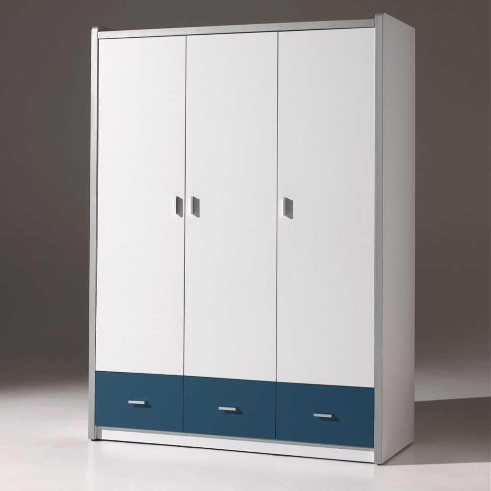Kleiderschrank mit blauen Schubladen Blau