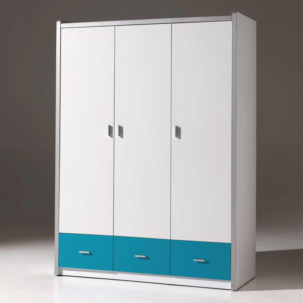 Jugendzimmer-Schrank in Weiß-Blau Weiß | Kinderzimmer > Jugendzimmer > Jugendschränke | Weiß | Holzwerkstoff | 4Home