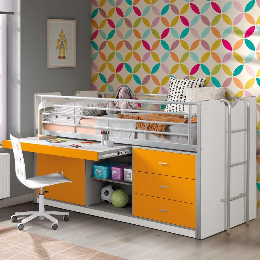 Kinderhochbett mit Schreibtischplatte Weiß | Kinderzimmer > Kindertische > Kinderschreibtische | Orange | Spanplatte - Mdf | 4Home