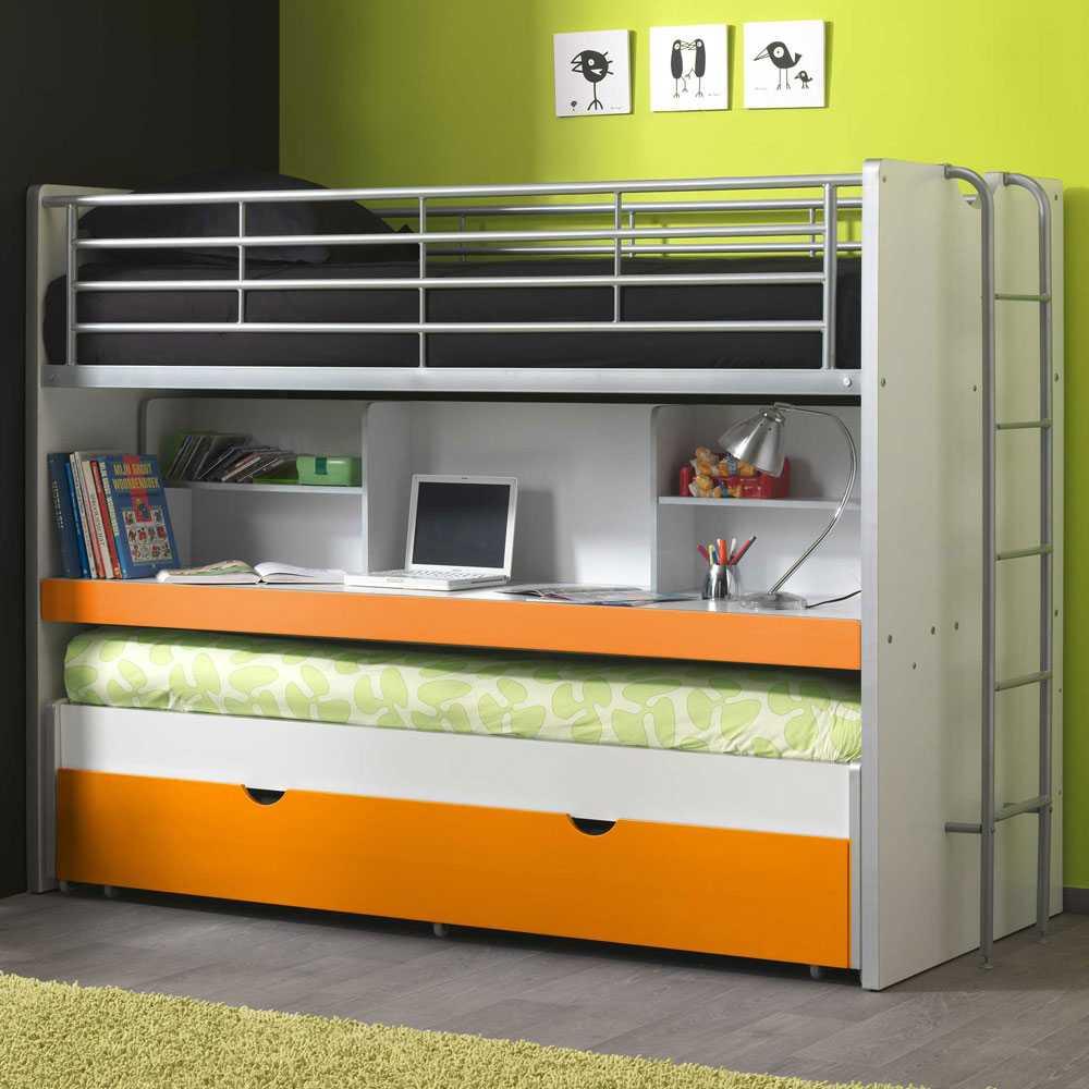 Etagenbett mit Ausziehbett Bettschublade | Kinderzimmer > Kinderbetten > Etagenbetten | Weiß | Holzwerkstoff | 4Home