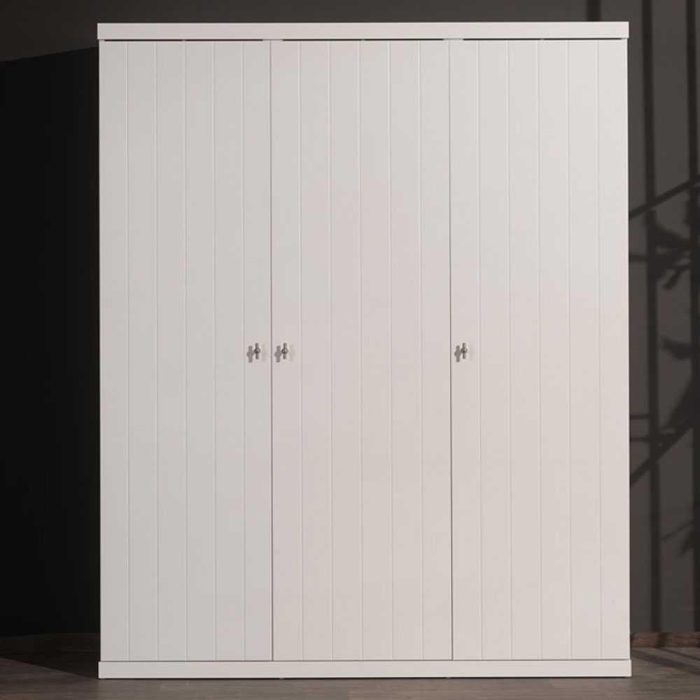 Kleiderschrank in Weiß lackiert 3-türig